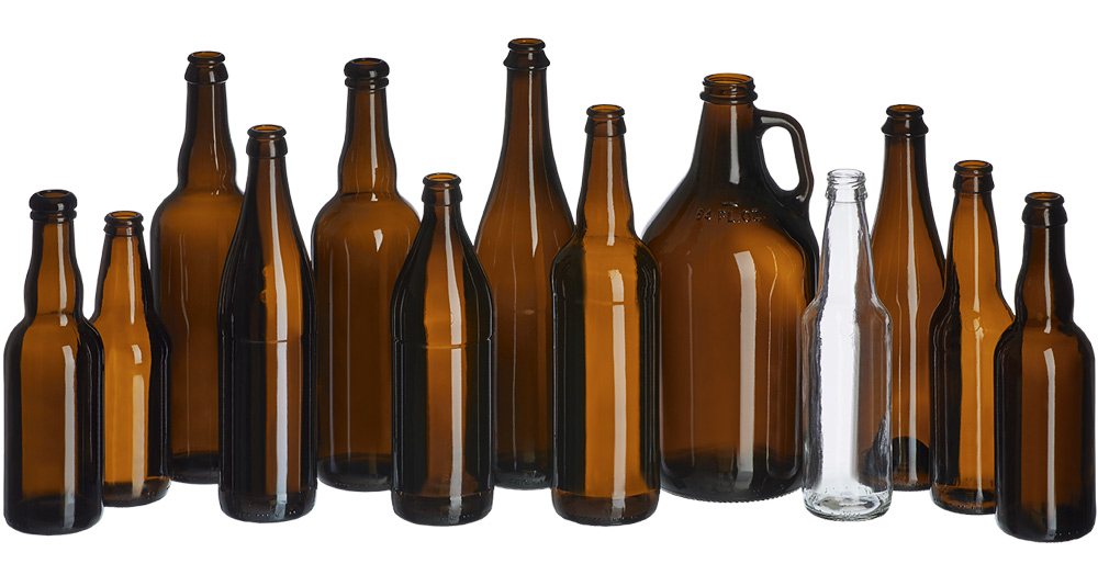 Glass beer bottles collection